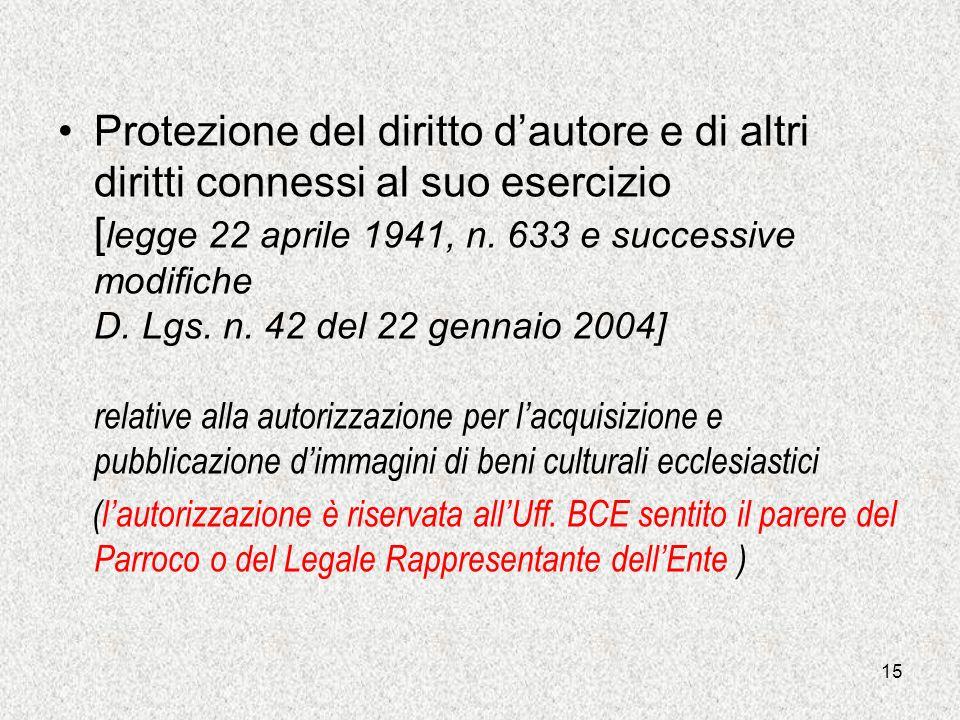 Protezione del diritto d'autore e di altri diritti connessi al suo esercizio [legge 22 aprile 1941, n. 633 e successive modifiche D. Lgs. n. 42 del 22 gennaio 2004] relative alla autorizzazione per l'acquisizione e pubblicazione d'immagini di beni culturali ecclesiastici